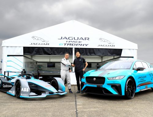 Alejandro Agag drives the Jaguar I-PACE eTROPHY racecar